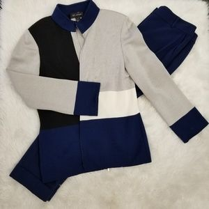 St. John 2pc Knit Pant Suit Set Navy Grey Size 6